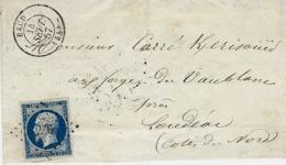 1857 - Lettre De BAUD ( Morbihan ) Cad T15 Affr. N°14 Oblit. P C 286 - Postmark Collection (Covers)