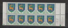 Guéret 1351B Bloc De 10 Avec Petit Décalage Ligne Blanche Pied Du Cerf Et Autour Des Arbres ** MNH - Curiosità: 1960-69  Nuovi