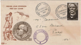 LCTN57PM- FRANCE FDC CLEMENCEAU 11/11/1951 - FDC