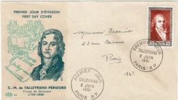 LCTN57PM- FRANCE FDC TALLEYRAND 2/6/1951 COTE EUR 125.00 - FDC