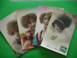 Portrait Femme Lot 4 Carte - Women