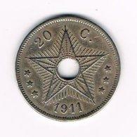 //  CONGO  BELGE  BELGISCH CONGO  20 CENTIMES   ALBERT I   1911 - 1910-1934: Albert I
