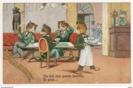 CHATS  Humanisés On Fait Une Petite Belotte, Et Puis...  2 Scans - Katten
