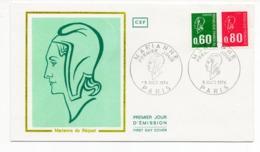 FDC France 1974 - Marianne De Bequet - YT 1814 Et 1816 Du 05/10/1974 - Paris - FDC