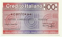 1976 - Italia - Credito Italiano - Unione Commercianti - Venezia - [10] Scheck Und Mini-Scheck