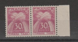 "FRANCE / 1946-1955 / Y&T TAXE N° 79 ** : Gerbes ""Timbre-Taxe"" 30c X 2 Dont 1 BdF D - 1859-1955 Neufs"