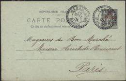 Entier 10c Sage Noir Sur Vert Surcharge Rouge 10 Centimos Sur Vert CAD Perlé Casablanca Maroc 19 Sept 01 Date 107 - Morocco (1891-1956)