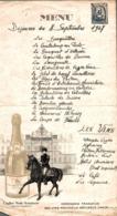 MENU DINER DU 8 SEPTEMBRE 1947 - Menus