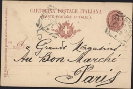 Entier Humbert I 1er Rouge 10 L CAD Tripoli Di Barberi 10 11 01 25 Oblitération Peu Connue Sur Entier Italie - 1878-00 Umberto I