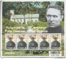 Heiligverklaring Pater Damiaan In Molokai - Feuille Canonisation Père Damien - 5 X 3969** - Panes