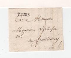 Sur Partie De Lettre Pour Fontenay Le Comte Marque Linéaire Tours. Taxe à La Plume. (3300) - Marcophilie (Lettres)