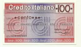 1976 - Italia - Credito Italiano - COIN - Grandi Magazzini SPA - Venezia - [10] Scheck Und Mini-Scheck