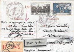 Carte Postale Recommandée France 1943 Pour Le Maroc Espagnol Cesure Censor Geoffnet Examiner - Guerre De 1939-45