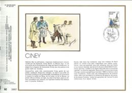 """"""" CINEY""""   1979 Feuillet Timbre 1er Jour + Soie   1979 Exemplaire Numéroté - Feuillets De Luxe"""