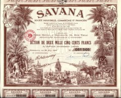 SAVANA .Action De 2500 Fr -1952 - Africa