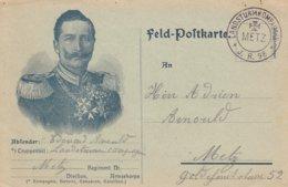 Feldpostkarte Obl LANDSTURMKOMPAGNIE * J.R.98 * / METZ Adressée à Metz - Poststempel (Briefe)
