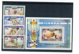 A24249)Johannes Paul II.: Belize 724 - 727** + Bl 62** - Päpste
