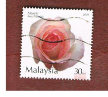 MALESIA (MALAYSIA)  -  SG 1120  -   2003  FLOWERS: PINK ROSA HYBRDA   -  USED ° - Malesia (1964-...)