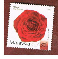 MALESIA (MALAYSIA)  -  SG 1121  -   2003  FLOWERS:RED ROSA HYBRDA   -  USED ° - Malesia (1964-...)