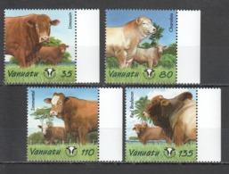 A826 VANUATU FAUNA ANIMALS COWS YEAR BLONG BULUK #1175-78 SET MNH - Farm