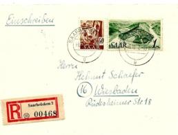 LE 0241. N° 218-225 SAARBRÜCKEN 2 - 10.10.47 S/Lettre RECOMMANDEE Vers Wiesbaden. TB - 1947-56 Ocupación Aliada