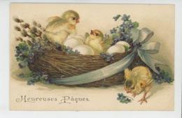 """POUSSINS - Jolie Carte Fantaisie Gaufrée Poussins Violettes Oeufs Dans Nid De """"Heureuses Pâques"""" (embossed Postcard) - Pâques"""