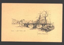 Chênée - Le Pont Et L'Hôtel De Ville - Illustration Jean Müller - Liège