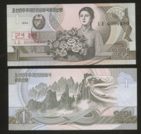 Korea North 1 Won 1992 Pick 39S2 UNC - Corea Del Nord