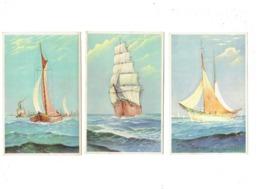 Lot 3 Cpa - Illustration - Bateau Voilier - Coloprint 7339-7347-7340 Belgium - Voiliers