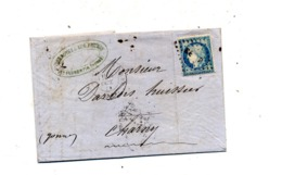 Lettre  Cachet Losange  CE P  + , + Joigny Charny - Postmark Collection (Covers)