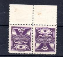 1920 Pigeon   Tête Bêche   5 H Violet  Y 156a **     Bord De Feuille - Tchécoslovaquie