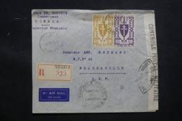 CAMEROUN - Enveloppe Commerciale De Douala Pour Brazzavile En 1943 Avec Contrôle, Affranchissement Plaisant - L 43491 - Cameroun (1915-1959)