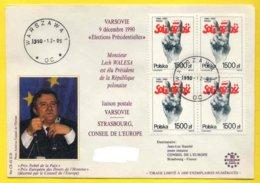 POLOGNE - VARSOVIE -  NOBEL / 1990 ELECTION DE LECH WALESA - SOLIDARNOSC (ref 179) - Nobel Prize Laureates