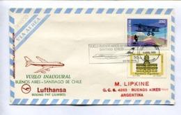 VUELO INAUGURAL - BUENOS AIRES-SANTIAGO DE CHILE, LUFTHANSA BOEING 747 (JUMBO). 1979 ARGENTINA AIR MAIL - LILHU - Poste Aérienne