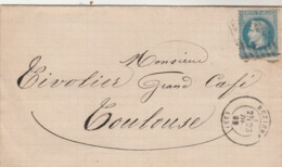 France Yvert 29 Lettre BEZIERS Hérault 23/12/1869 Pour Toulouse Haute Garonne - Storia Postale