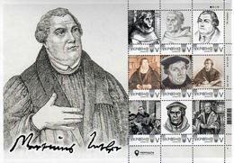 Ukraine 2019, Protestant Reformation, Martin Luther, Sheetlet Of 9v - Ukraine