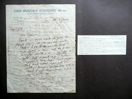 Lettera Casa Musicale Sonzogno Milano 1918 Forzano Mascagni Musica Non Completa - Vecchi Documenti
