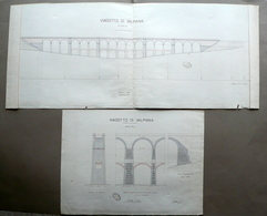 Viadotto Di Valpiana 2 Tavole Particolari Coppi Massa Marittima 1892 Circa - Vecchi Documenti