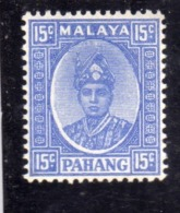 MALAYA PAHANG MALESIA 1935 SULTAN ABU BAKAR 1941 CENT. 15c MNH - Pahang
