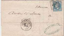 France Yvert 29 Lettre CASTELNAUDARY Aude 2/4/1870 GC 763 Pour Albi Tarn - 1849-1876: Période Classique