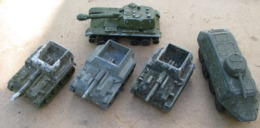 USSR Soviet Russia Military Equipment Toys 5 Pcs Armored Personnel Carrier  Self-propelled Artillery Mount Vintage - Chars