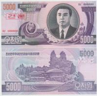 Korea North 5000 Won 2002 Pick 46S UNC 0000000 - Corea Del Nord