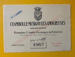 11890 - Chambolle-Musigny Les Amoureuses 1957  Domaine Comte Georges De Vogüé Spécimen - Bourgogne
