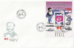 NORTH KOREA - COREA DEL NORTE - FDC - 2002 Red Cross And Red Crescent - Minisheet Peforate - Corea Del Norte