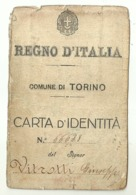 """5483"""" REGNO D'ITALIA-COMUNE DI TORINO-CARTA D'IDENTITA' - SOLO PRIMA META' """"  ORIGINALE - Documenti Storici"""