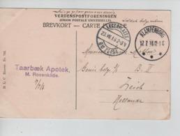 PR7429/ PC Copenhague Eremitagen C.Klampenberg 17/7/16 > Belgian Soldier PDG-POW  Camp De Zeist - WW I