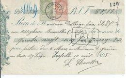 Reçu Met OCB 57-59 - Afstempeling JUPILLE - 1893-1900 Fine Barbe