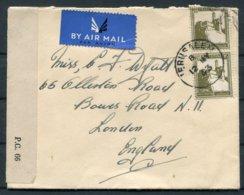 1943 Palestine Jerusalem Airmail Censor Cover. Hadden, Ramallah Police - Bowes Road, London N11 - Palestine