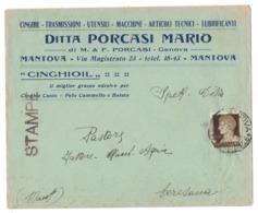 QS277  Busta Pubblicitaria 1931 Ditta PORCASI MARIO MANTOVA Per Ceresara - 1900-44 Vittorio Emanuele III