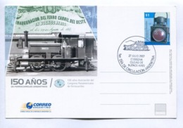 150 AÑOS DE FERROCARRILES ARGENTINOS - ARGENTINE 2007 FDC ENTIER ENTERO ENTIRE - LILHU - Trains